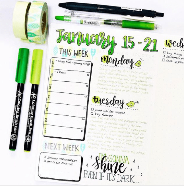 Green bullet journal spreads